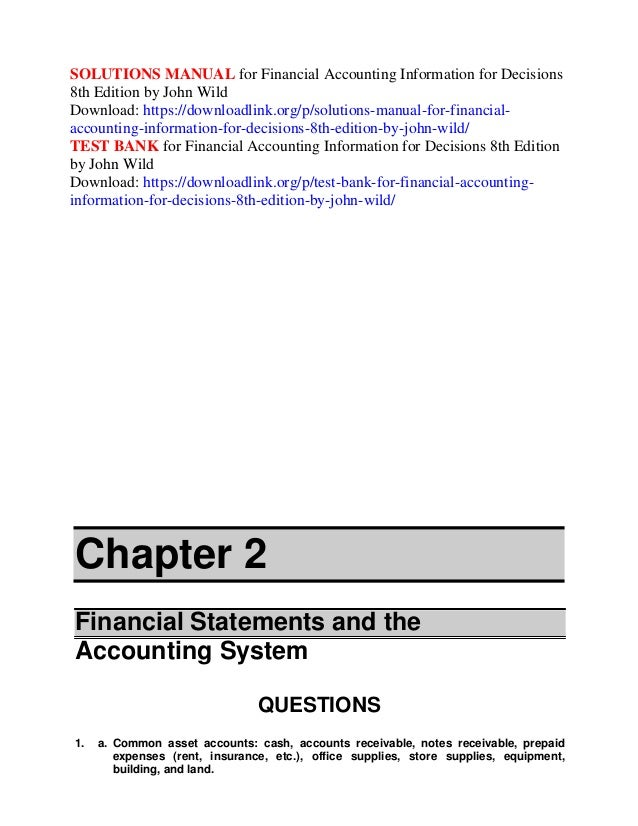 financial accounting 8th edition solutions manual